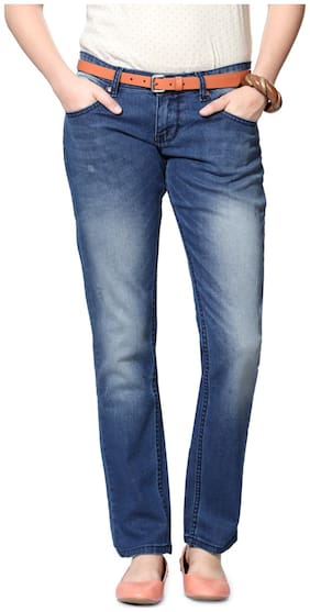 People Women Regular Fit Mid Rise Washed Jeans - Blue
