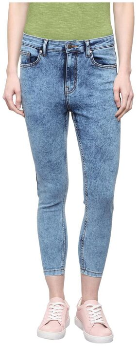 People Women Skinny Fit Mid Rise Solid Jeans - Blue