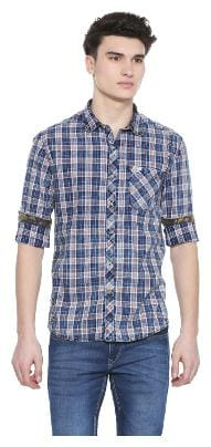 Men Slim Fit Plaid Casual Shirt