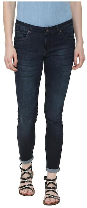 People Women Slim Fit Mid Rise Solid Jeans - Blue