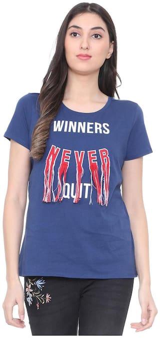 People Women Blue Regular fit Round neck Cotton T shirt