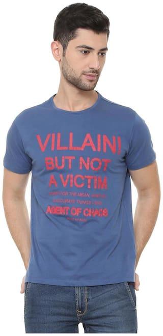 People Men Regular fit Crew neck Printed T-Shirt - Blue