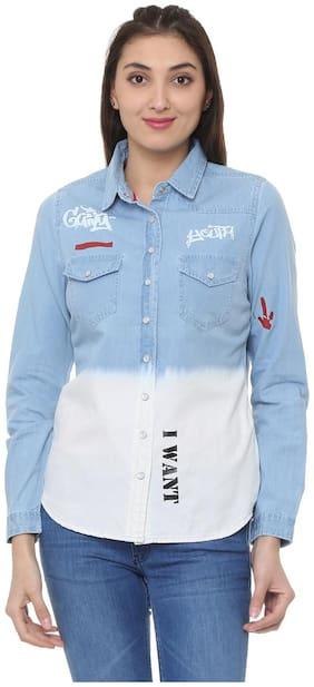 People Women Regular Fit Printed Shirt - Blue