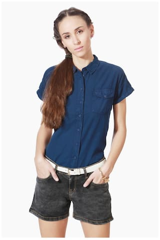 People Cotton Regular Blue Casual shirts