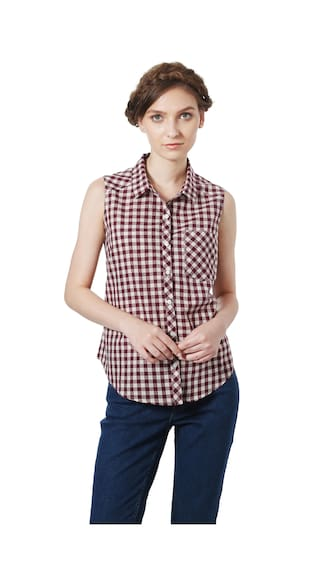 People Cotton Regular Fit Maroon Casual shirts
