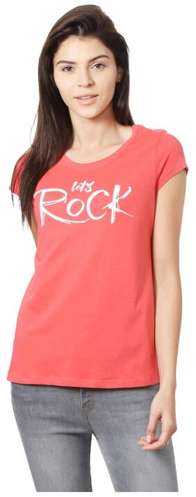 People Cotton Regular Red Casual Tshirts & Tank Tops