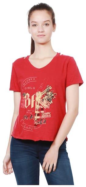 People Women Cotton Printed - Regular Top Red