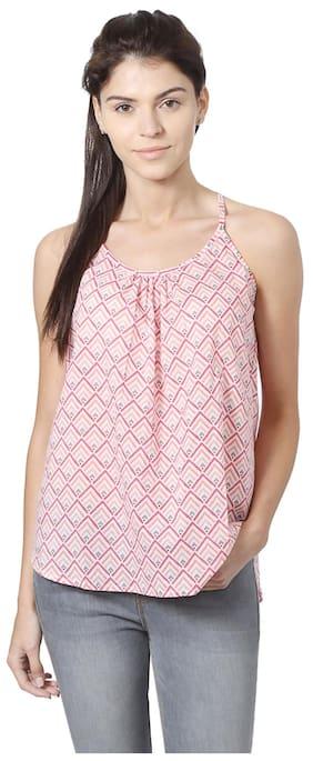 People Women Cotton Printed - Regular Top Pink