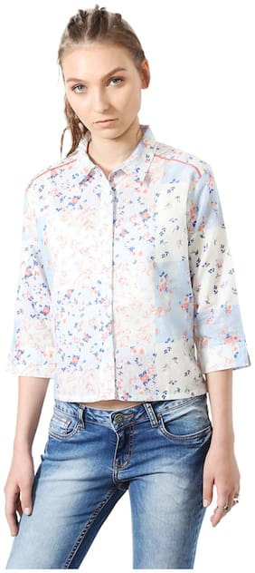 People Cotton Regular Fit White Casual shirts