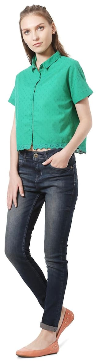 Regular Green Casual shirts Fit Cotton People 5qnT44