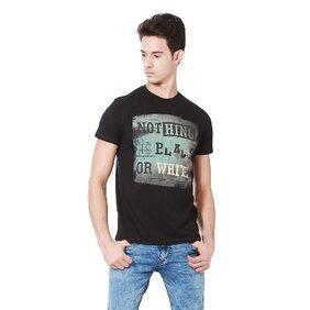 People Cotton Regular Black T Shirt