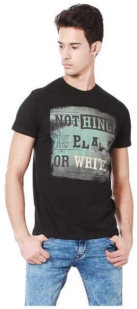 People Men's Printed T-Shirt - Black