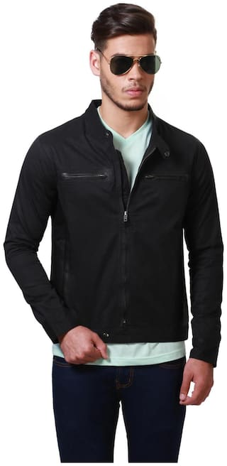 People Men Cotton Regular fit Jacket - Black