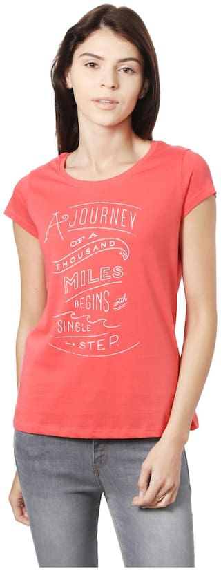 People Women Printed Round neck T shirt - Red