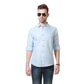 People Cotton Linen Blend Blue Textured Slim Fit Casual Shirt