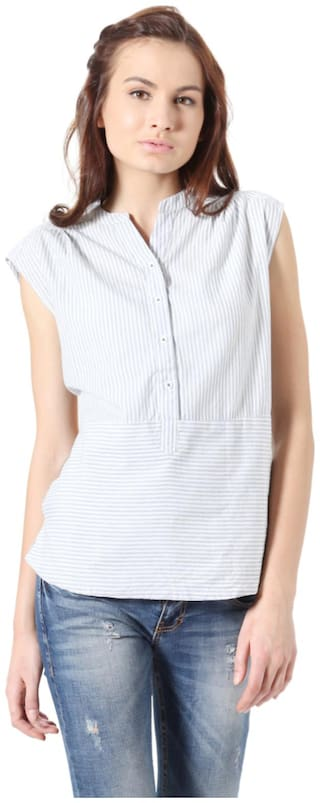 People Women Cotton Solid - Regular top White