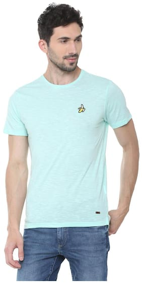People Cotton Blue Textured TShirt