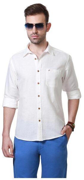 People Cotton Linen Blend White Textured Slim Fit Casual Shirt