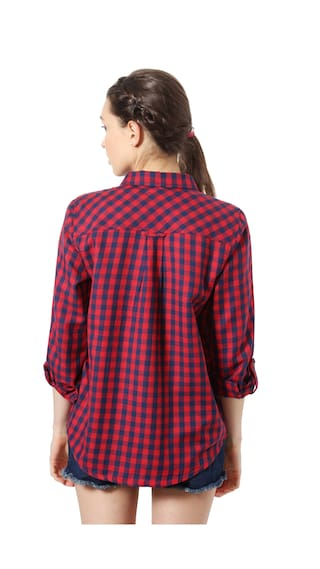 Cotton shirts People Regular Casual Casual Red BnxZRqZ4