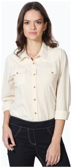People Women Regular Fit Self Design Shirt - Cream