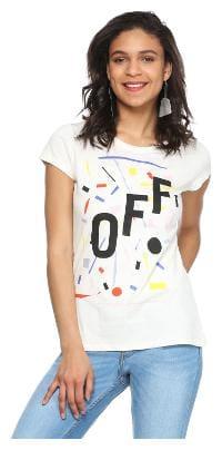 People Women Printed V neck T shirt - White