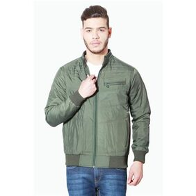 People Green Polyester Full Sleeves Jackets