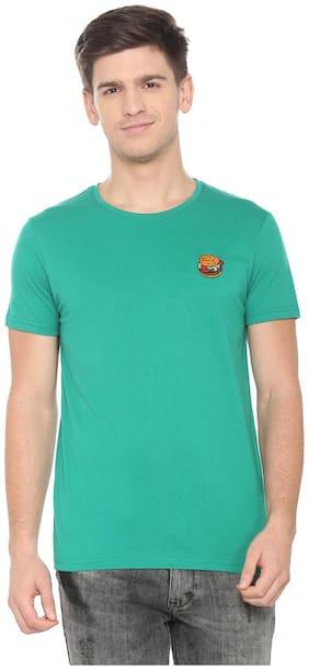 People Men Regular fit Crew neck Solid T-Shirt - Green