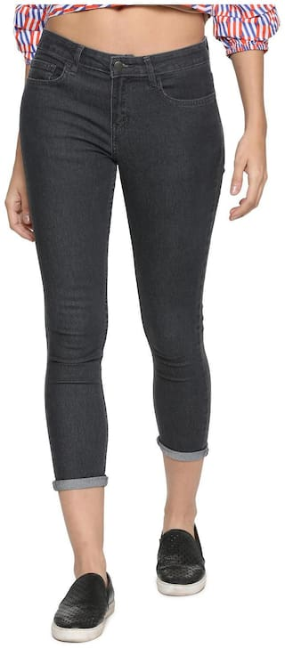 People Women Regular fit Mid rise Printed Jeans - Grey