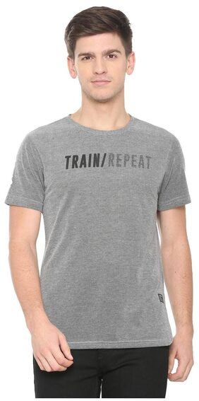 People Men Regular Fit Crew Neck Self Design T-Shirt - Grey