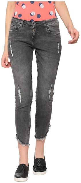 People Women Slim Fit Mid Rise Washed Jeans - Grey