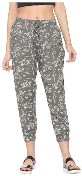 People Women Regular Fit Mid Rise Printed Pants - Grey