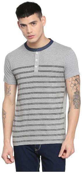 People Men Regular fit Henley neck Striped T-Shirt - Grey