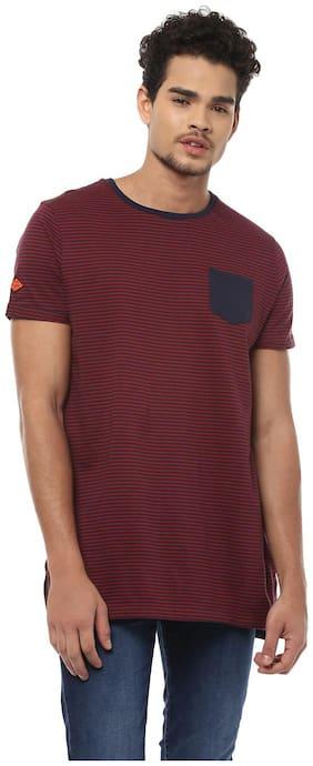 People Men Regular fit Crew neck Striped T-Shirt - Maroon