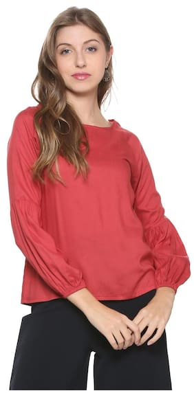 People Women Cotton Solid - A-line Top Maroon