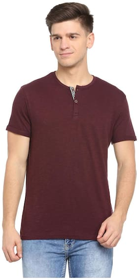 Men Henley Neck Solid T-Shirt Pack Of 1