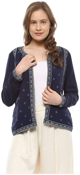 People Women Solid Bomber jacket - Blue
