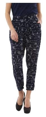 People Women Regular Fit Mid Rise Solid Pants - Blue