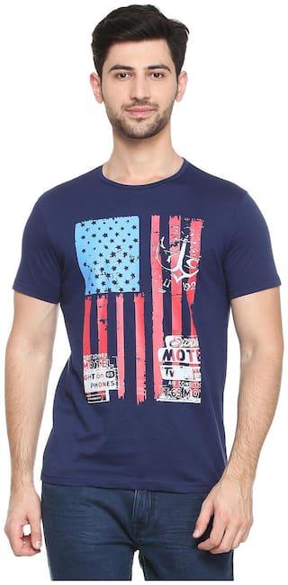 People Men Regular fit Round neck Printed T-Shirt - Blue