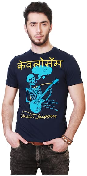 People Men Regular fit Crew neck Printed T-Shirt - Navy blue