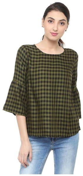 People Women Viscose Checked - Regular Tunic Green