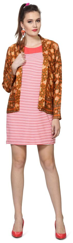 People Orange Viscose Shrug