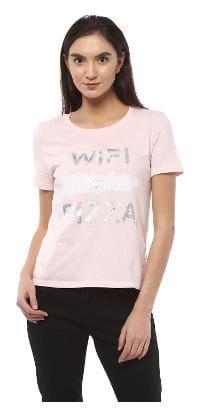 People Printed Pink T Shirt