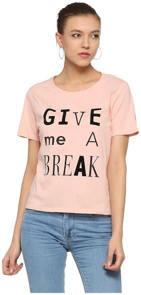 People Women Printed Round neck T shirt - Pink