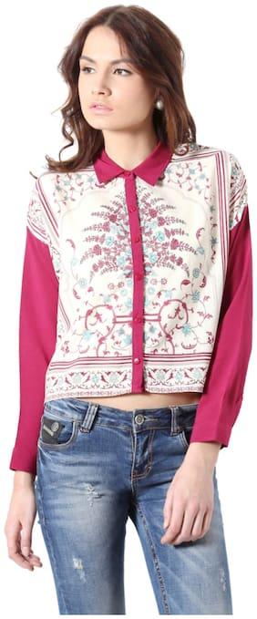 People Rayon Regular Pink Casual shirts