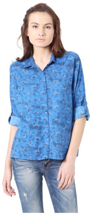 Casual shirts Blue People Rayon Regular wqB1tU