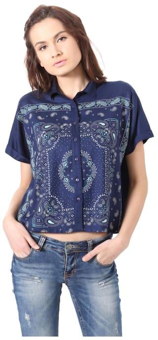 shirts People Regular Rayon Casual Blue rrqIxOS