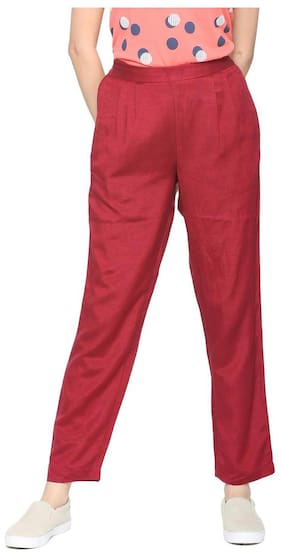 People Women Regular Fit Mid Rise Solid Pants - Red