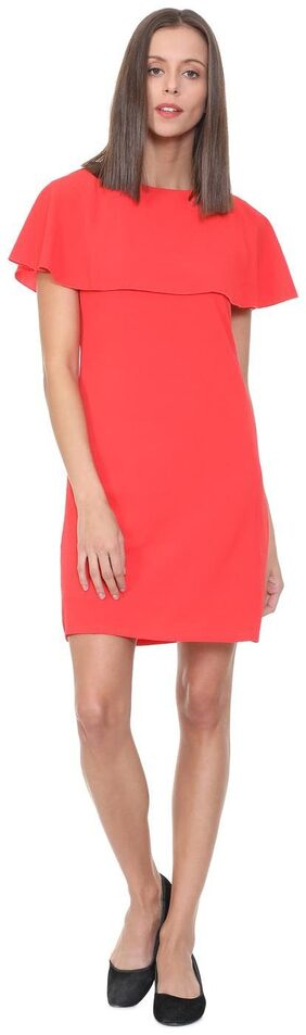People Polyester Solid A-line Dress Red
