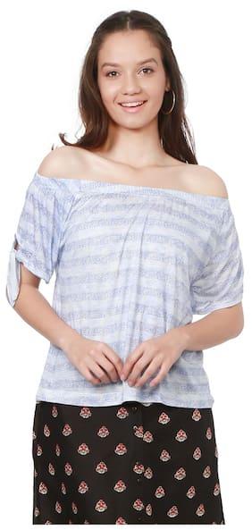 People Women Viscose Striped - Regular Top Blue
