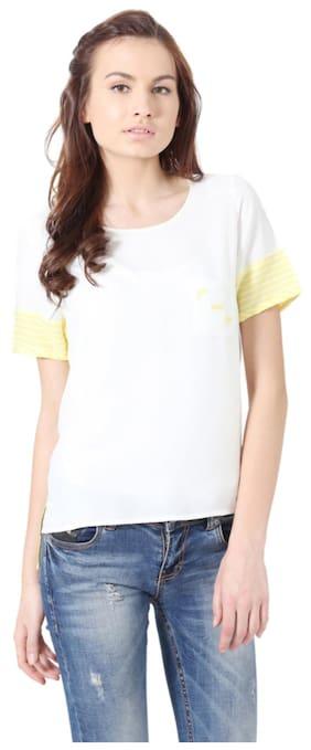 People Viscose Regular Yellow Tops & Tunics